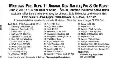 Maytown Fire Department Gun Raffle Fundraiser set for June 2nd