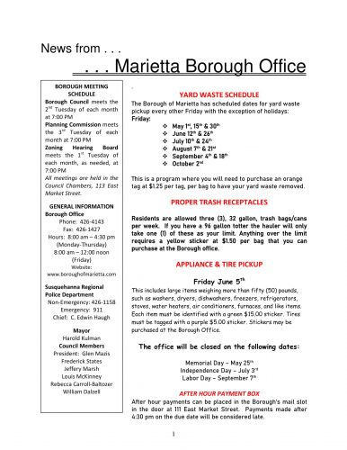 May 2020 Marietta Borough Newsletter
